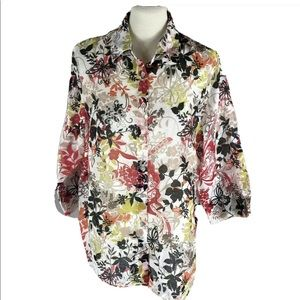 Alfred dinner lightweight floral butterfly top 16W